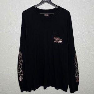 Harley Davidson Long Sleeve Black Pocket T-Shirt